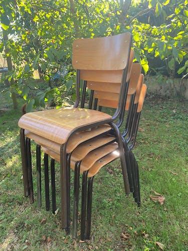 Set de 5 chaises d'école 1970