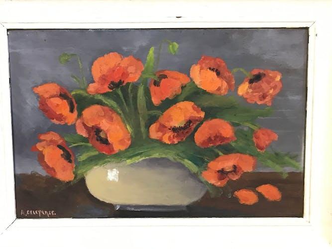 Peinture florale à l'huile encadrée