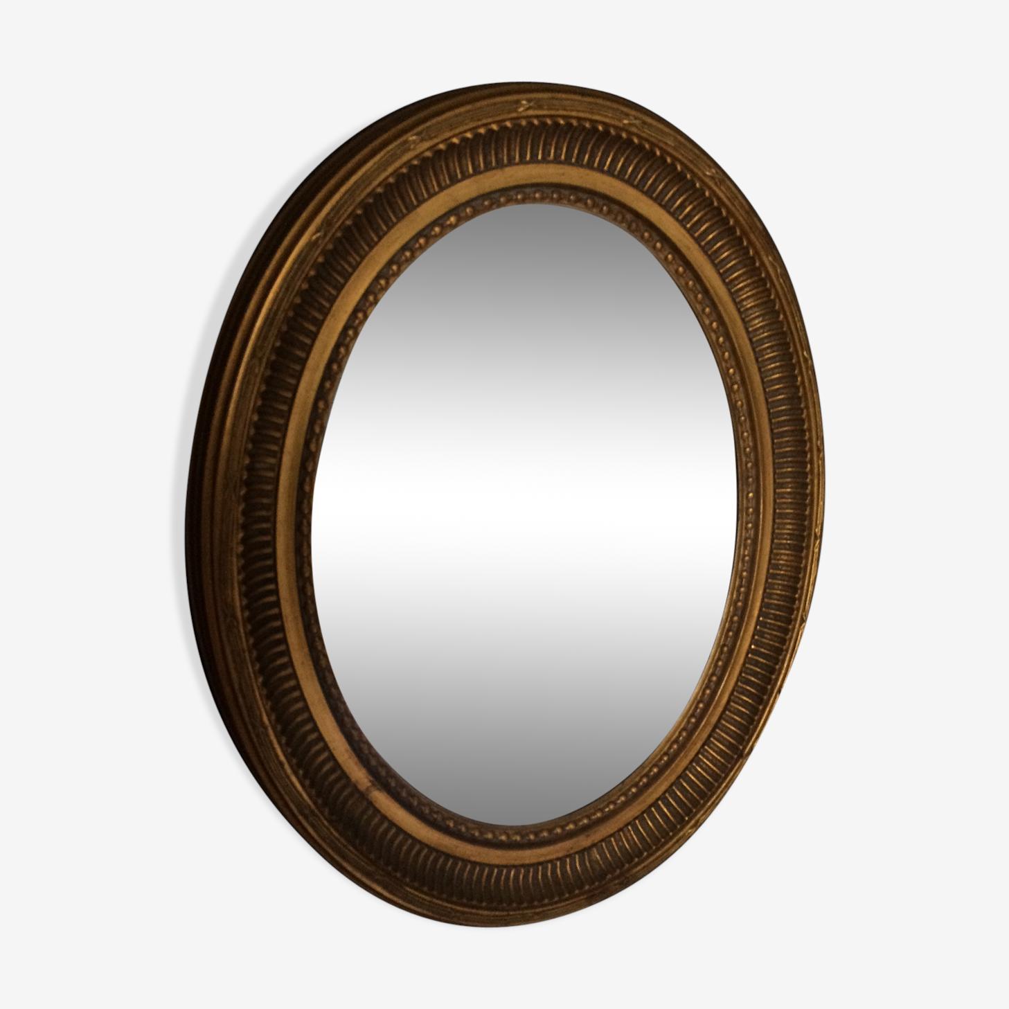 Antique mirror oval gilded 50x40cm