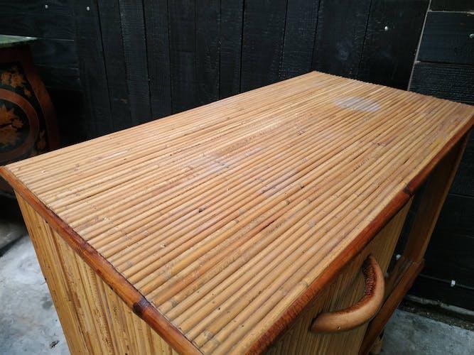 Meuble bar vintage en bambou