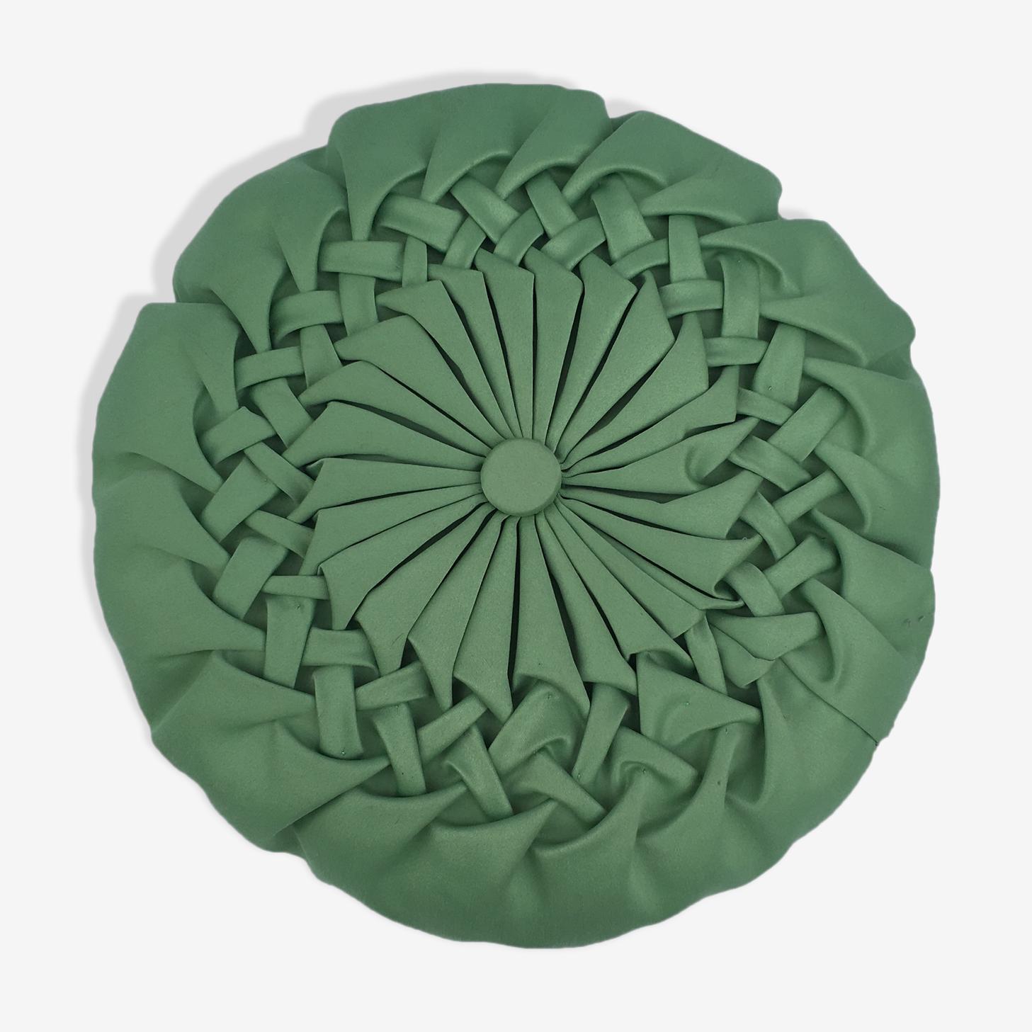 Coussin rond vintage plissé vert