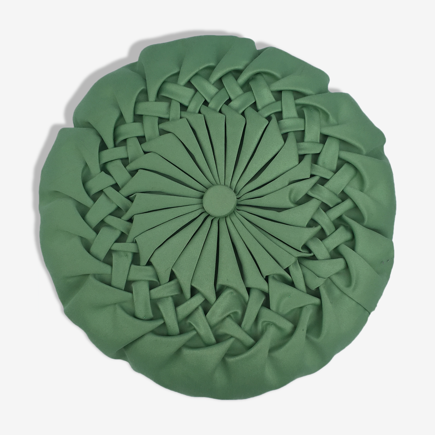Cushion round pleated vintage green