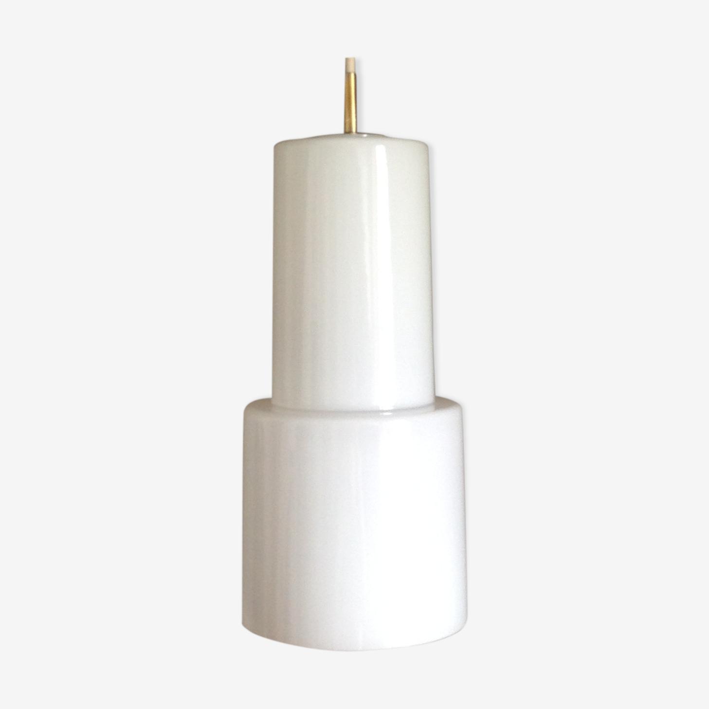 Suspension tube en opaline blanche, vintage, années 60-70