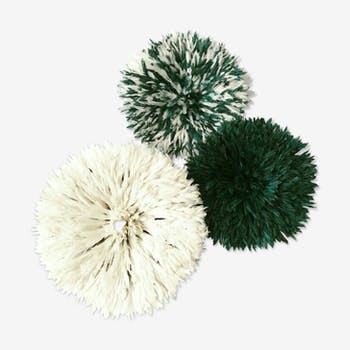 Set of 3 juju hats white and green