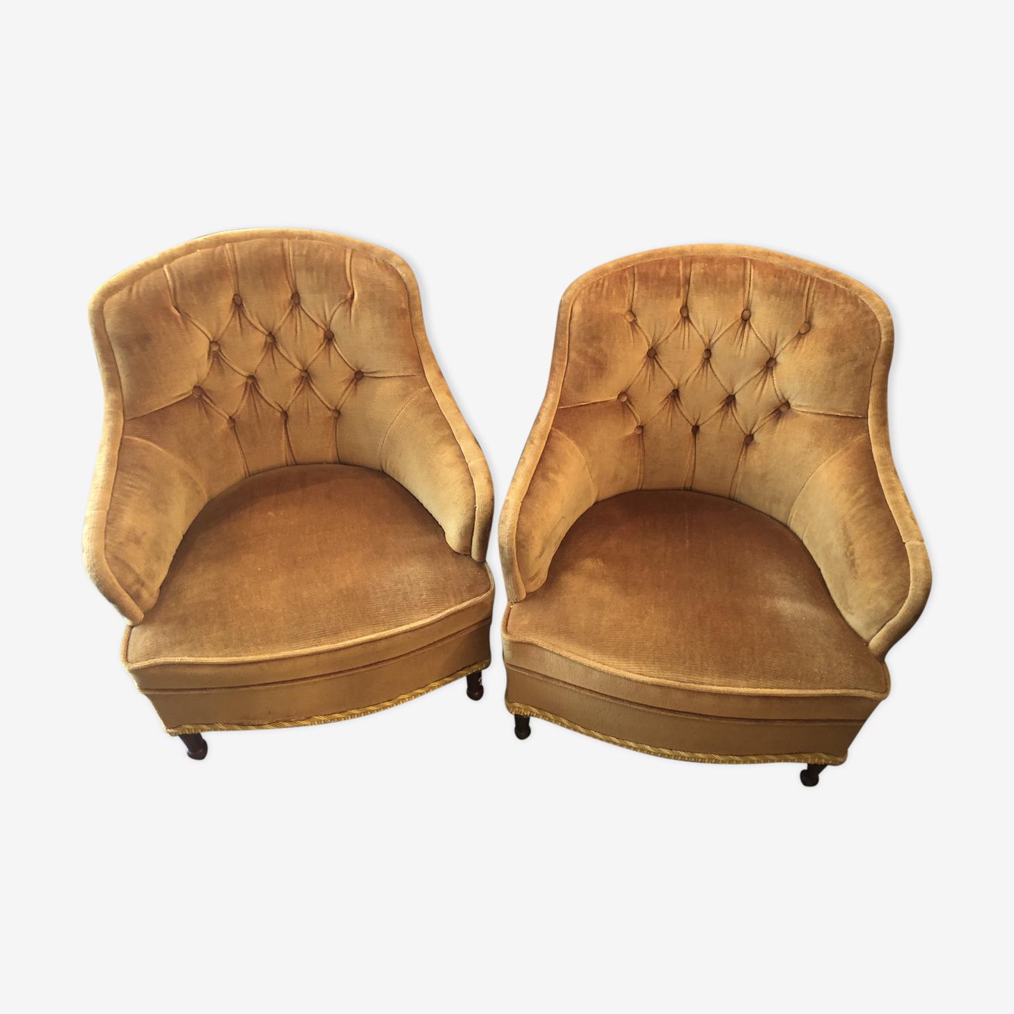 Paire de fauteuils velours