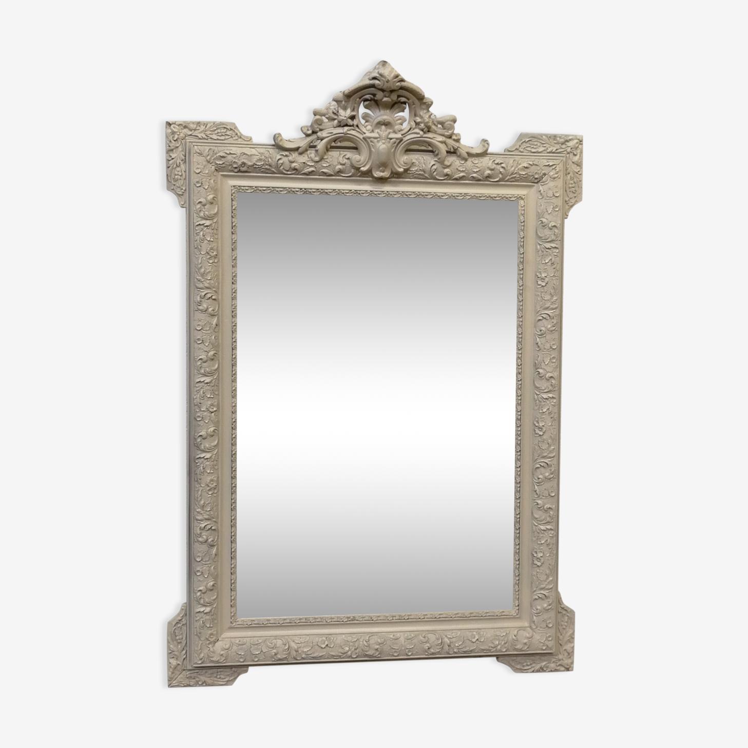Miroir ancien rectangulaire en bois et stuc peint 82x120cm