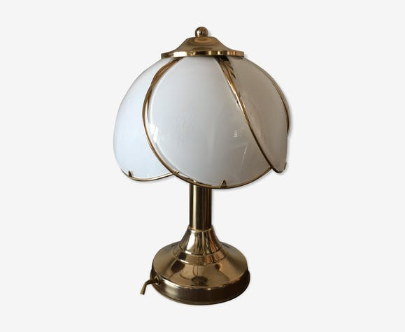 Vintage regency brass and glass table lamp, 1970s