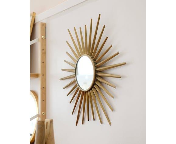 Miroir Soleil en métal doré 49cm