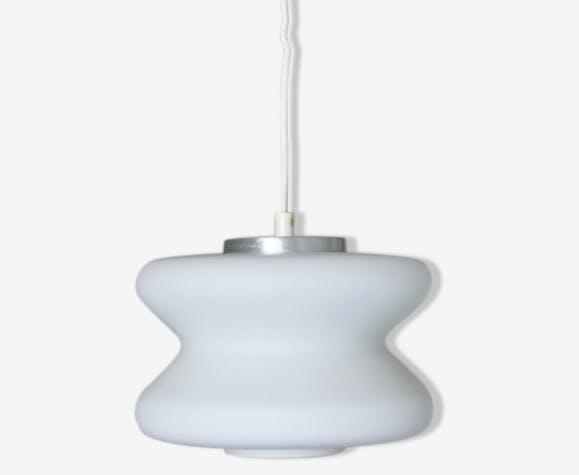 Lustre blanc design scandinave suspension ufo abat jour cylindre vintage verre de lait lampe