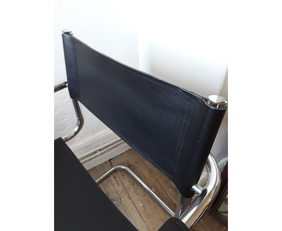 Fauteuil design cuir et chrome cantilever années 60/70