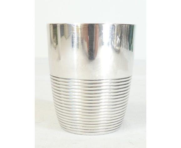 Timbale art deco Christofle en metal argenté modele ondulation luc lanel