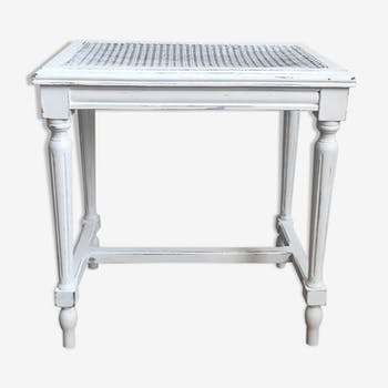 Patina white shabby chic piano stool