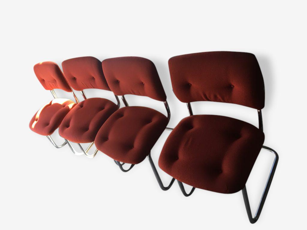 Chaises 70's orange/rouge