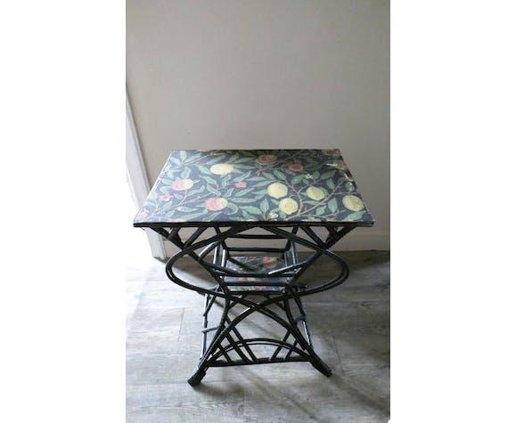 Table d'appoint en bambou et rotin noirci, époque 1900