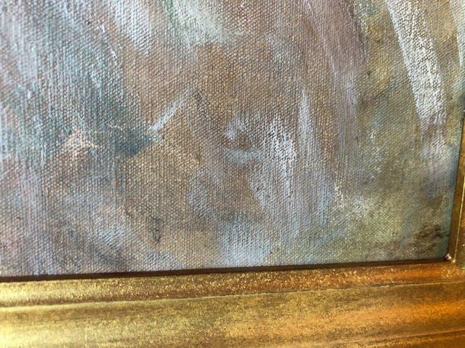 Huile sur toile du XIXe siècle représentant un portrait de petite fille avec son cadre en bois doré
