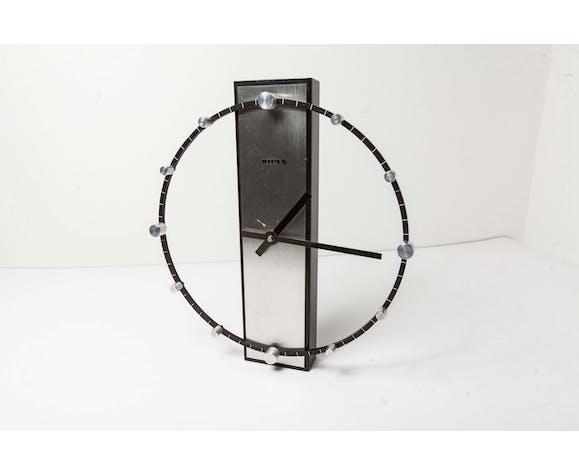 Clock Kiple circa 70 black and aluminum design and atypical