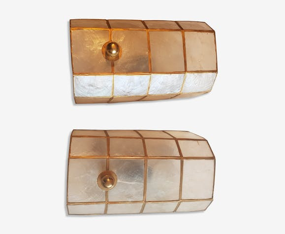 Pair of mother-of-Pearl and brass wall lamps