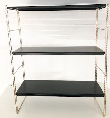 Black metal String shelves, 1960