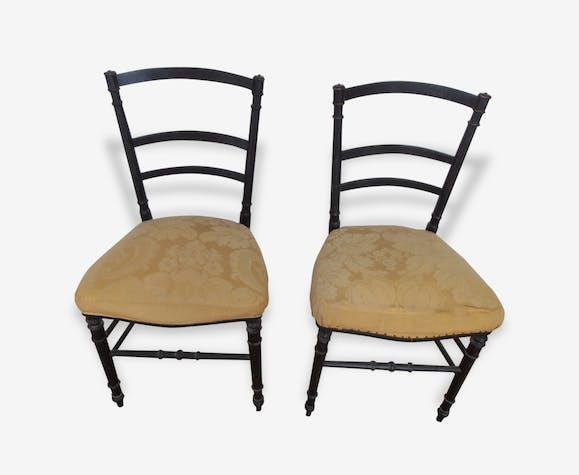 Paire De Chaise Epoque Napoléon Iii Bois Matériau Noir
