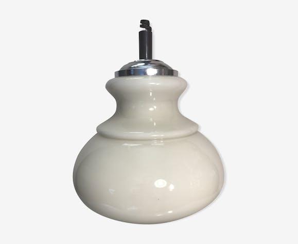 Suspension ancienne opaline blanche années 70