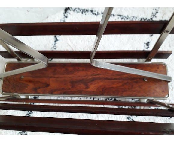 Porte-revue en métal et palissandre vintage