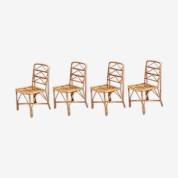 Lot de 4 chaises en rotin des années 70