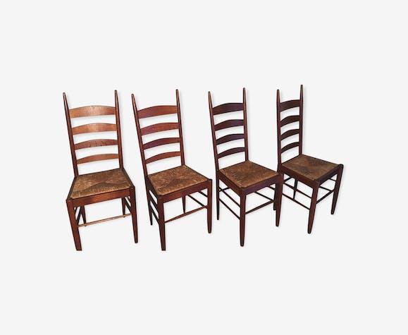 4 chaises 1960 bois et paille