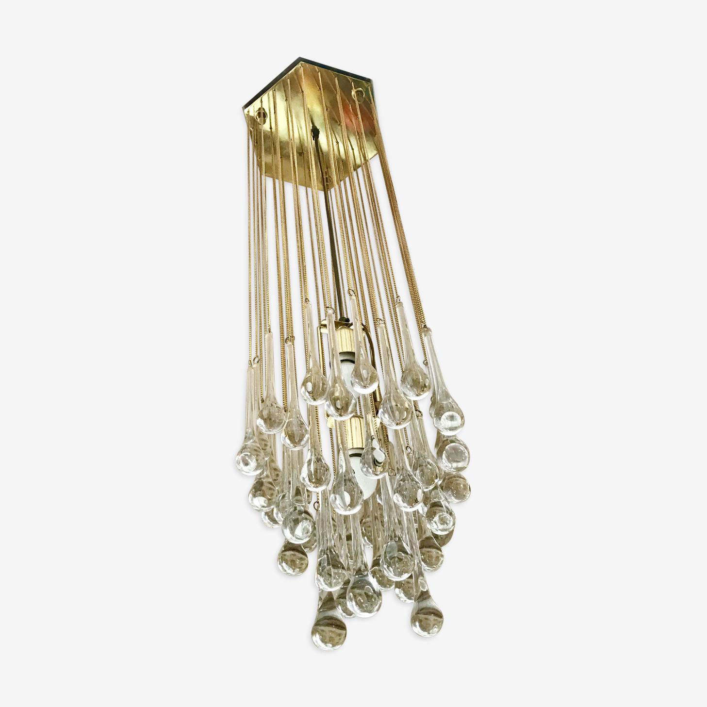 Paolo Venini glass drops chandelier 1960