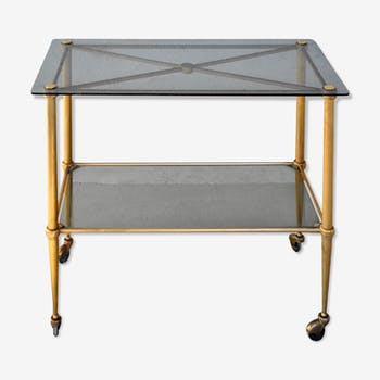 Tea-table style 1940 on gilded bronze smoked glass top