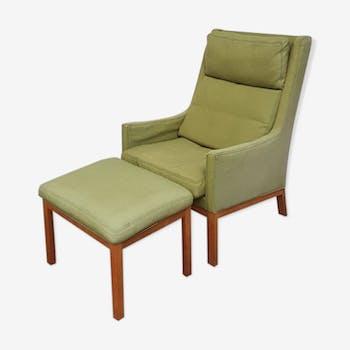 Mid century danish wool linen lounge armchair with footstool