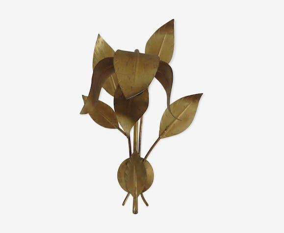 Applique fleur en métal doré années 70