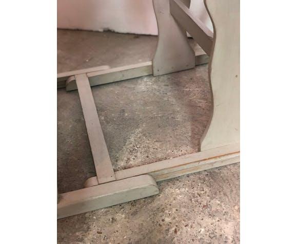 Pupitre bureau d'écolier en bois gris clair patiné 60'S