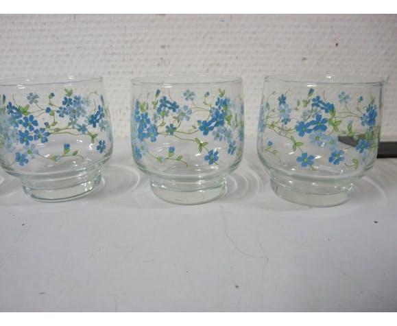 Lot de 5 verres à eau décor myosotis fleur bleu