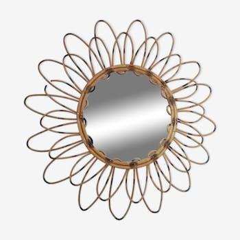 Miroir rotin vintage années 60, 30cm
