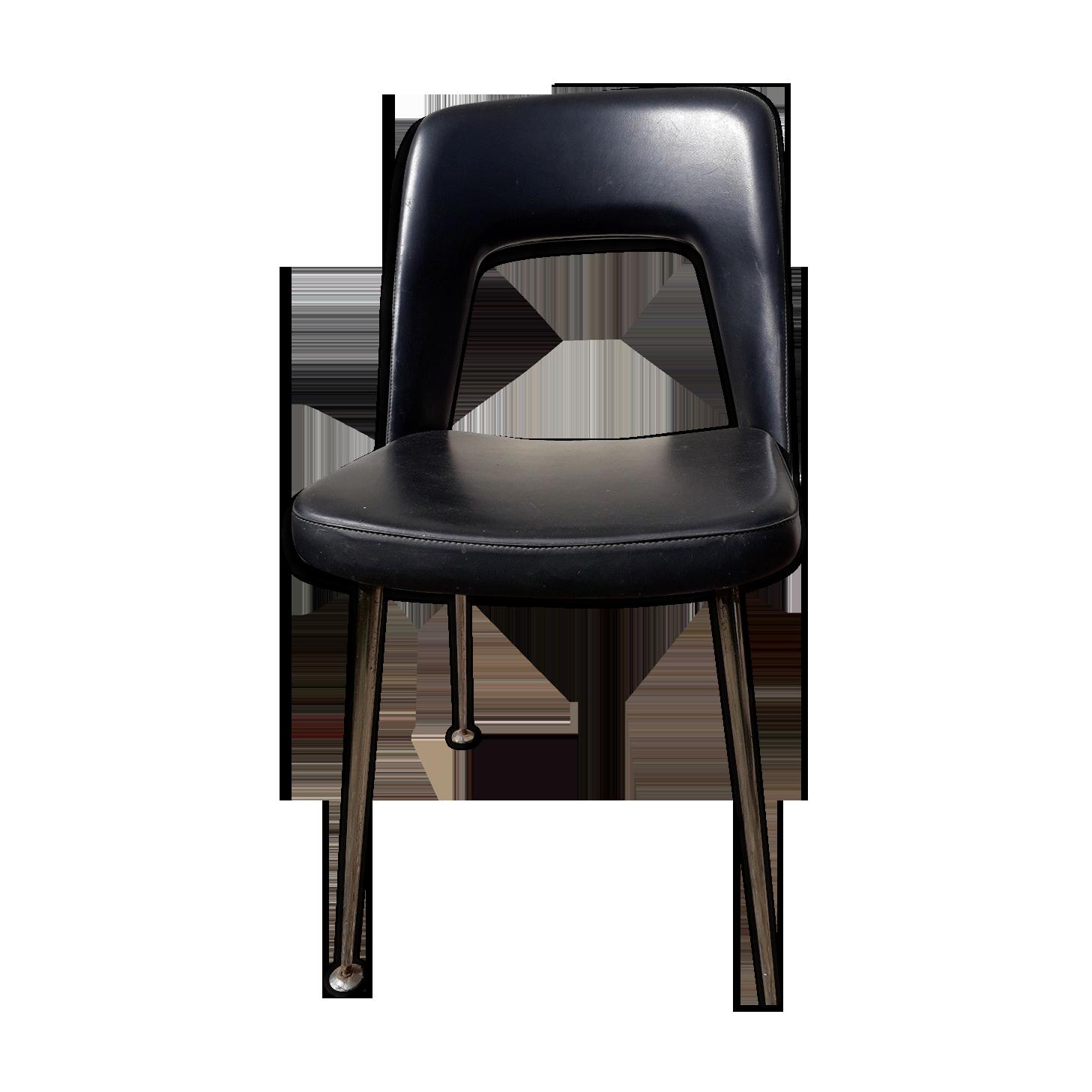 Chaise de bureau noire design skaï noir vintage hkmhd e