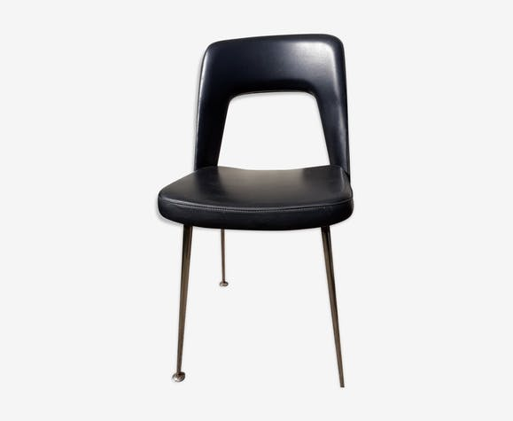 Chaise de bureau noire design 70 skaï noir vintage hkmhd4e