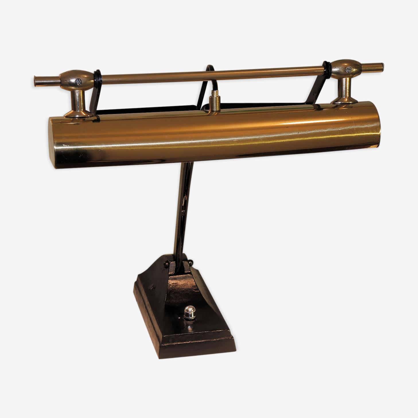 Lampe de banquier socle «  niam » abas jour cuivre or