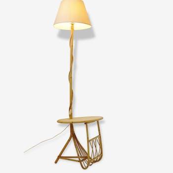Lampadaire rotin tablette & porte-revues 1950 1960 vintage cane floor lamp