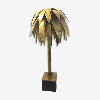 Palm tree floor lamp in brass