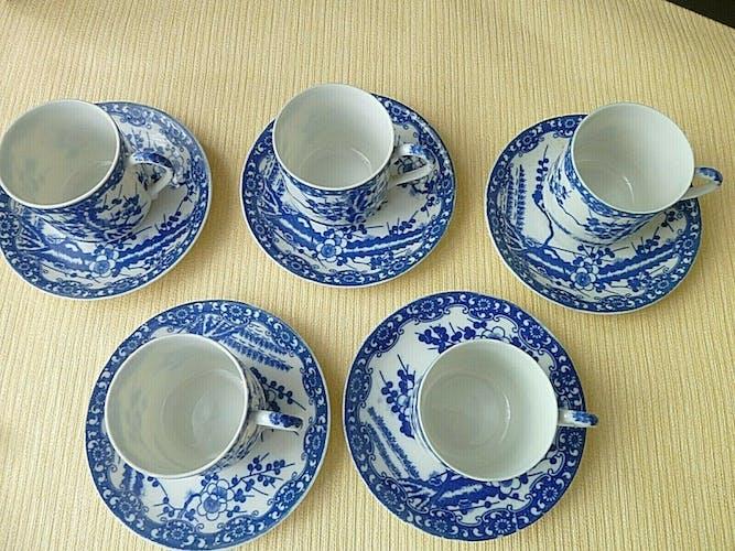 Set de 5 tasses à thé vert ou café en porcelaine du Japon