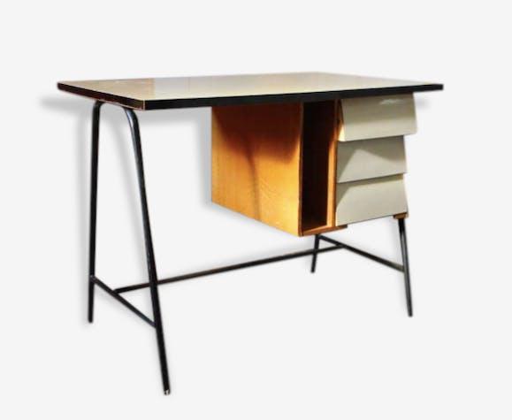 Petit bureau formica moderniste années 60 formica beige
