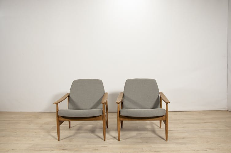 Czech grey armchairs from Ton, 1960