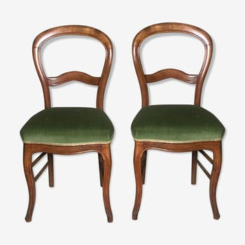 Chairs (the pair) Louis Philippe era covered in green velvet