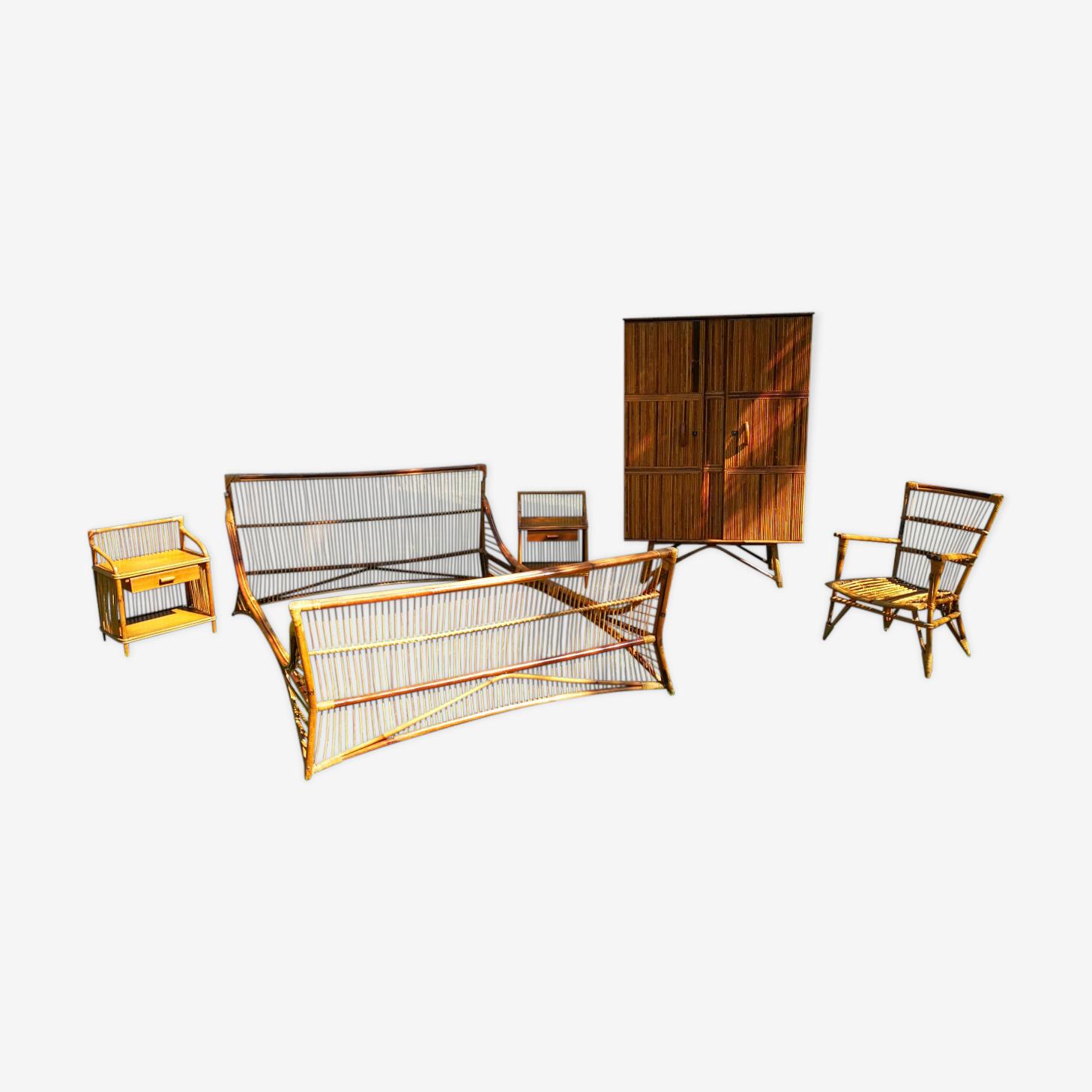 Bedroom rattan, 5 pieces, year 60-70