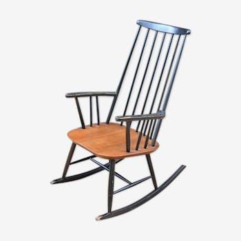 rocking chair noir en bois bois mat riau noir scandinave f2jql8f. Black Bedroom Furniture Sets. Home Design Ideas