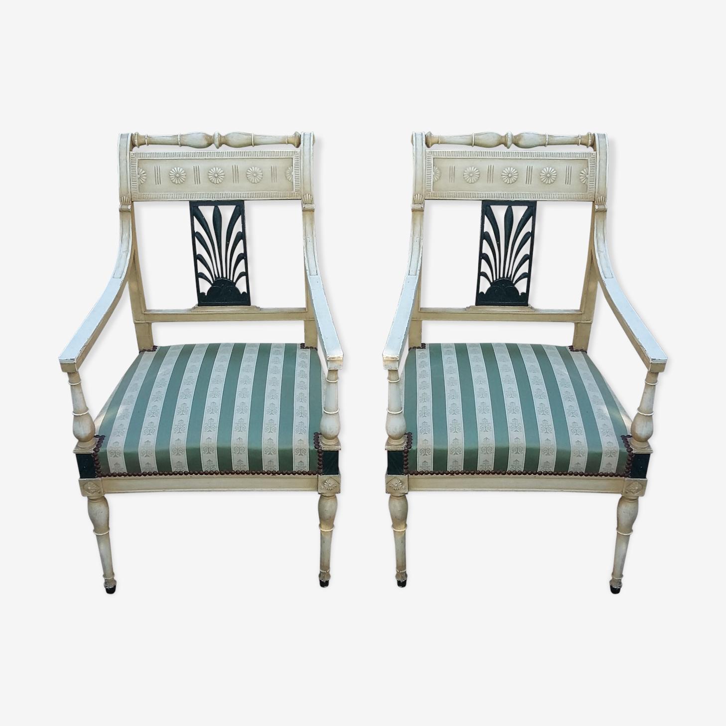 Lot de deux fauteuils Directoire