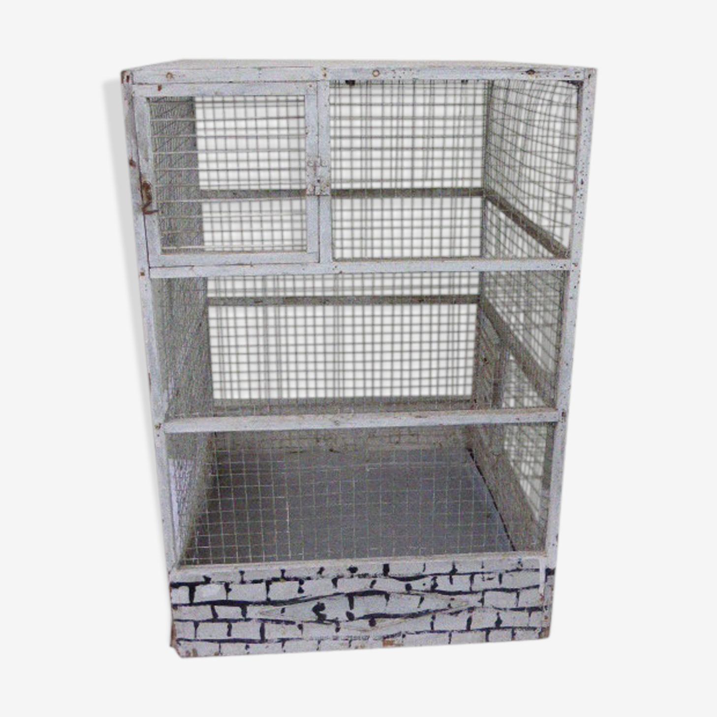 Cage à oiseau vintage, en bois et grillage en métal maille carrée