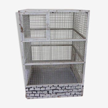 Vintage bird cage, made of wood and chicken wire metal square mesh