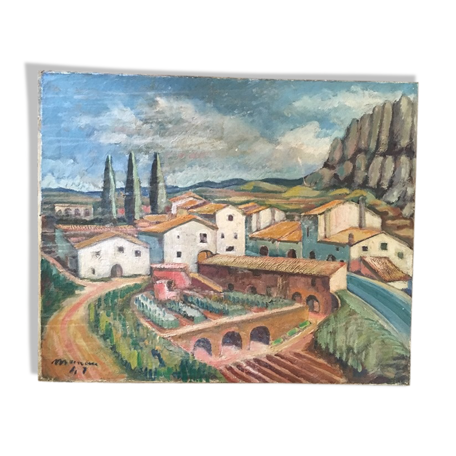 """Huile sur toile """"Village en Espagne"""""""