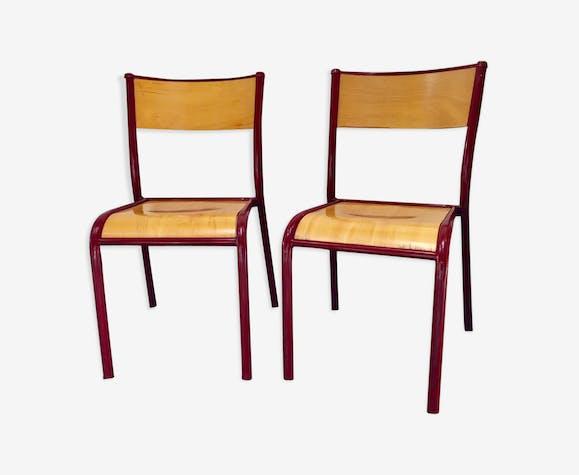Paire de chaises Mullca bordeaux